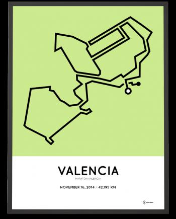 2014 maraton Valencia course art poster map