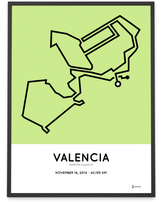 2014 maraton Valencia course art poster map