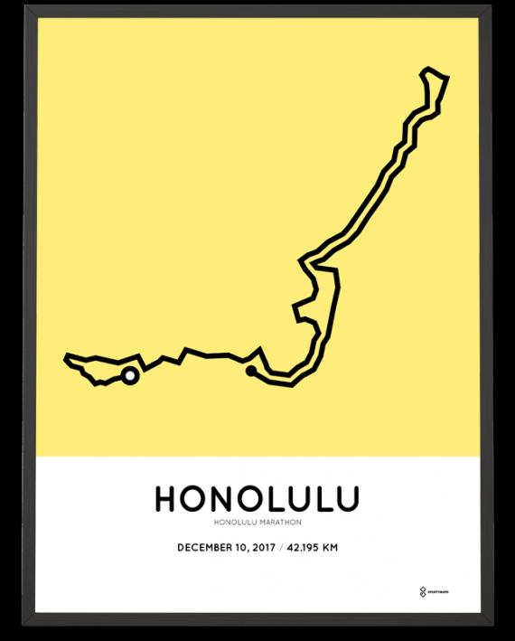 2017 Honolulu marathon course poster