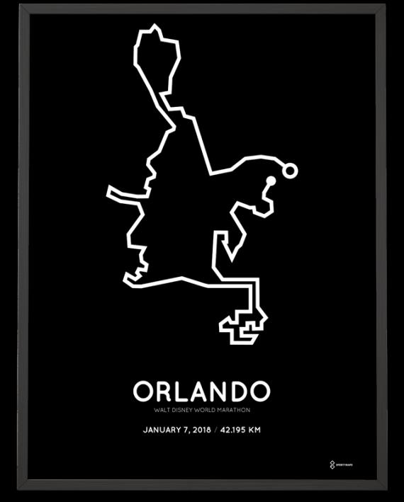 2018 Walt Disney world marathon course poster