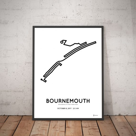 2017 Bournemouth half marathon route map print