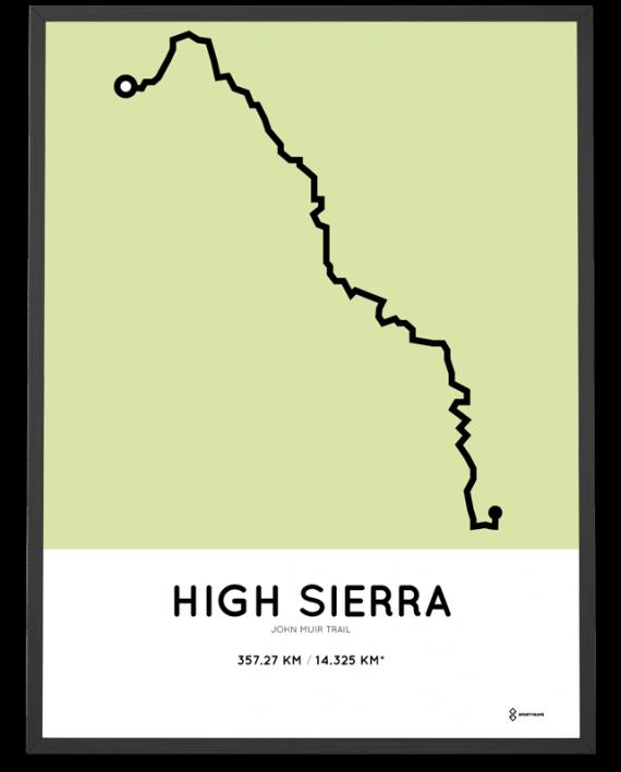 John Muir trail route print
