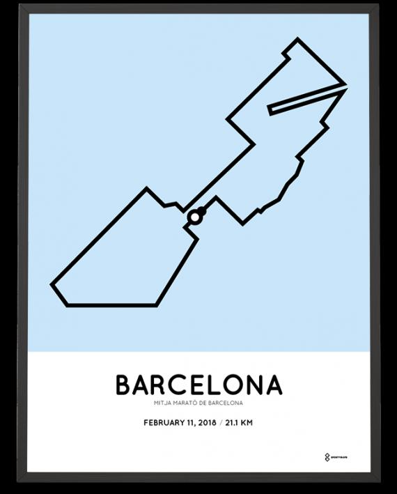 2018 mitja marato de barcelona course poster
