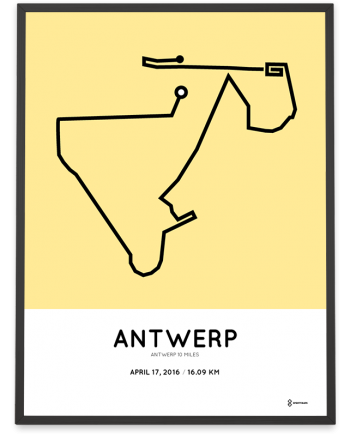 2016 Antwerp 10 miles parcours poster