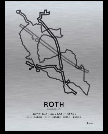 2016 Challenge Roth triathlon aluminum course print