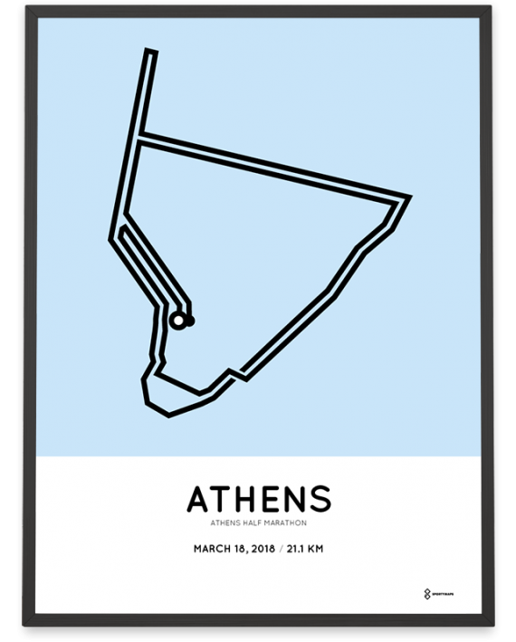2018 Athens half marathon course poster