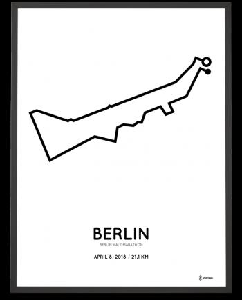 2018 Berlin halbmarathon strecke map poster