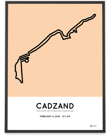 2018 Midwinter halve marathon Cadzand-Bad route poster