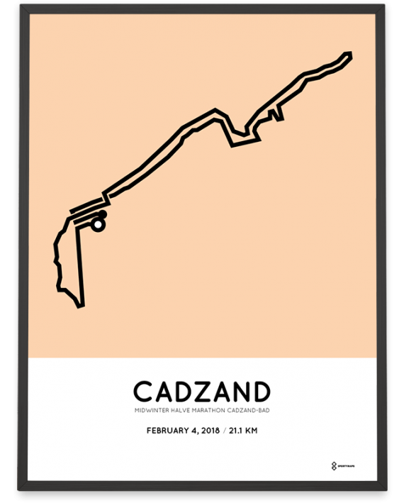 2018 Midwinter halve marathon Cadzand-Bad route poster