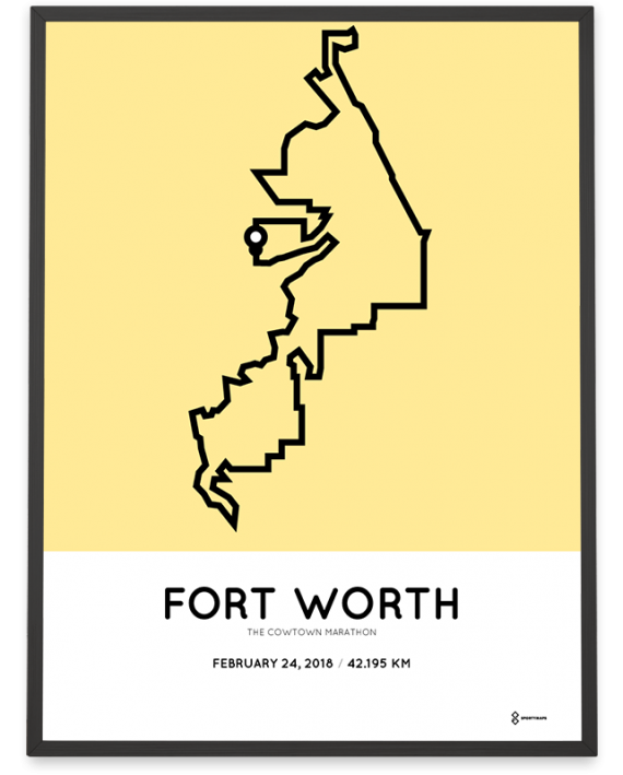 2018 The Cowtown marathon route poster