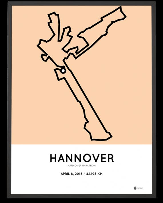 2018 Hannover marathon strecke map poster
