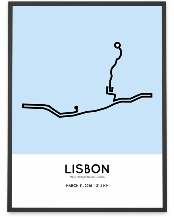 2018 Lisbon half marathon course poster