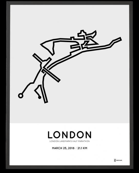 2018 London Landmarks half marathon course poster
