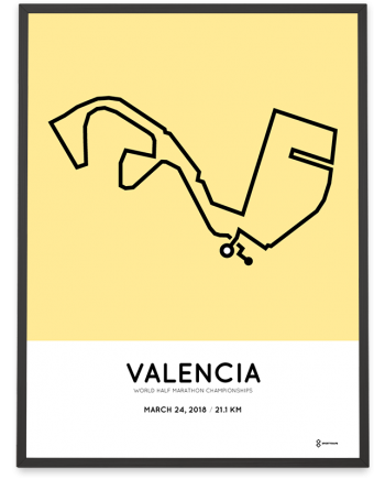 2018 Valencia world half marathon championships course poster