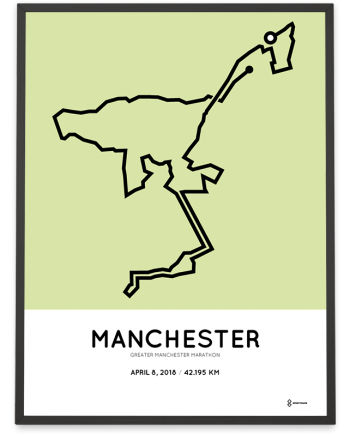 2018 Greater manchester marathon course poster sportymaps