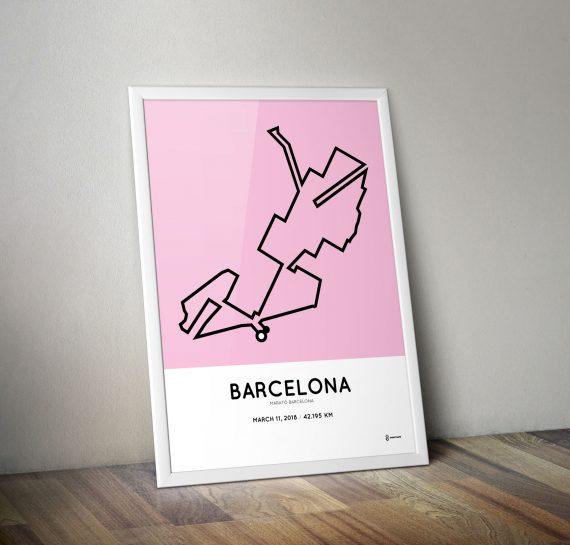 2018 Barcelona marathon route print