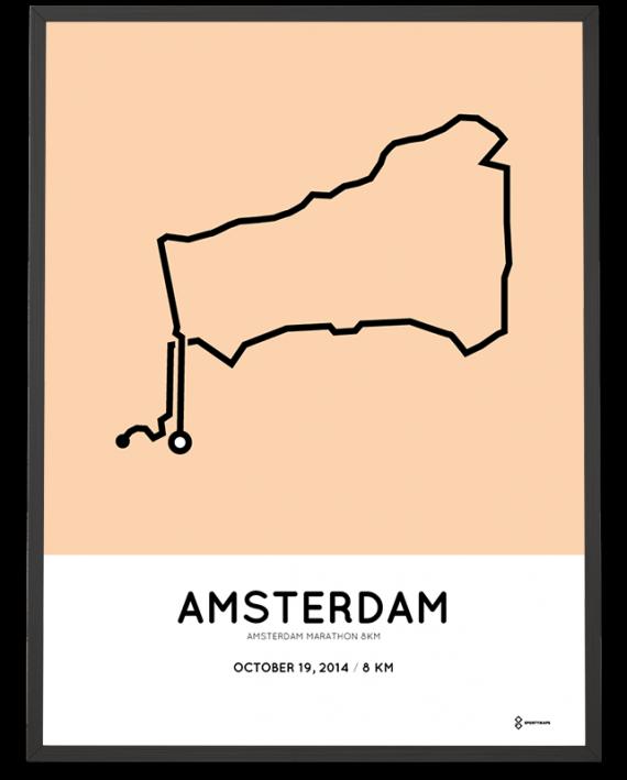 2014 Amsterdam marathon 8km course poster
