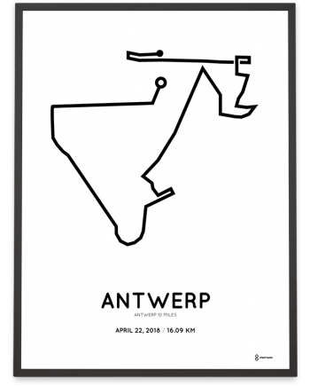 2018 Antwerp 10 miles route poster