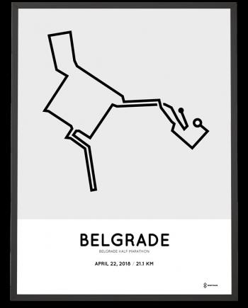 2018 Belgrade half marathon course poster
