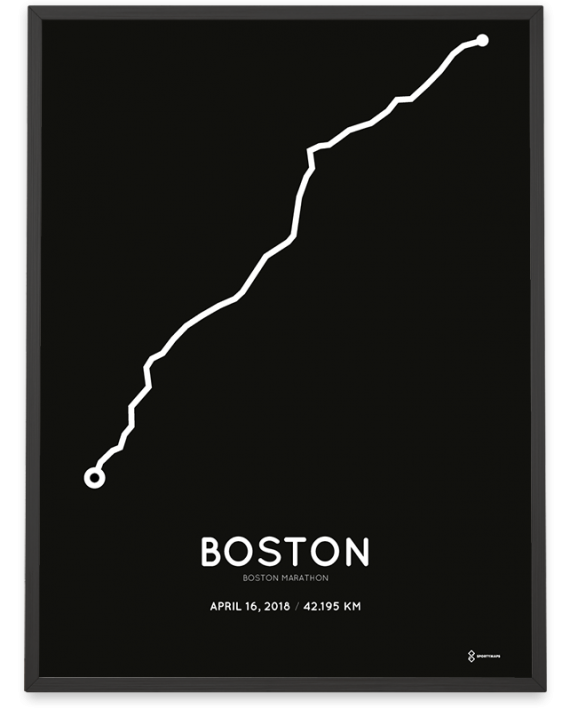 2018 Boston marathon course poster