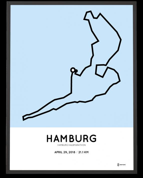 2018 Hamburg halbmarathon course poster