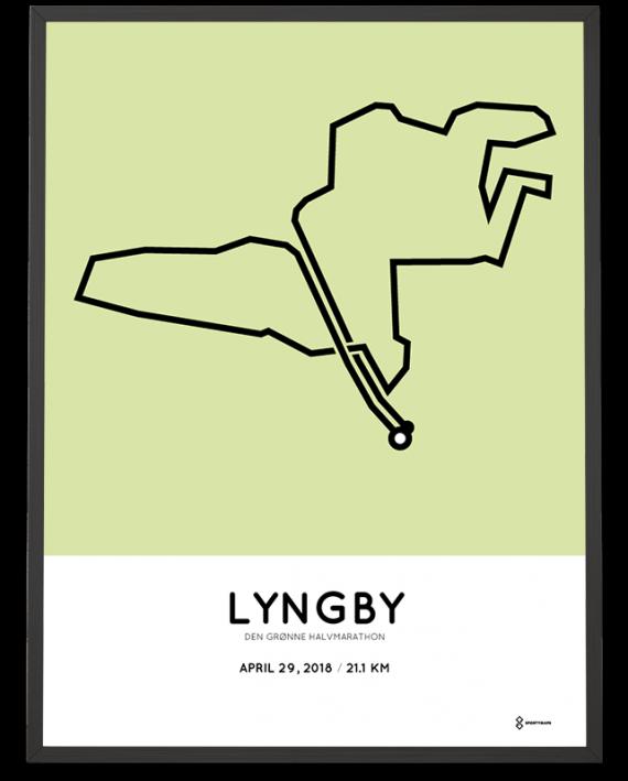 2018 Lyngby halvmarathon course poster