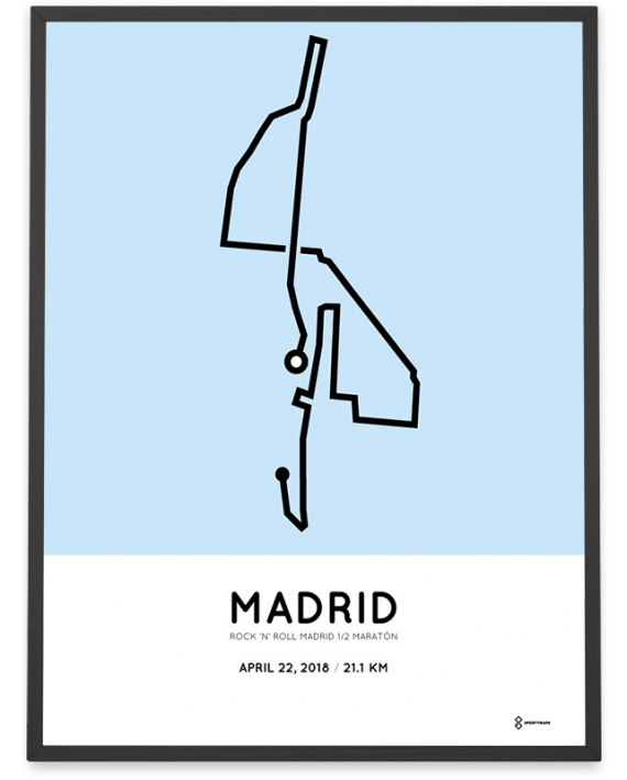 2018 Madrid half marathon course poster
