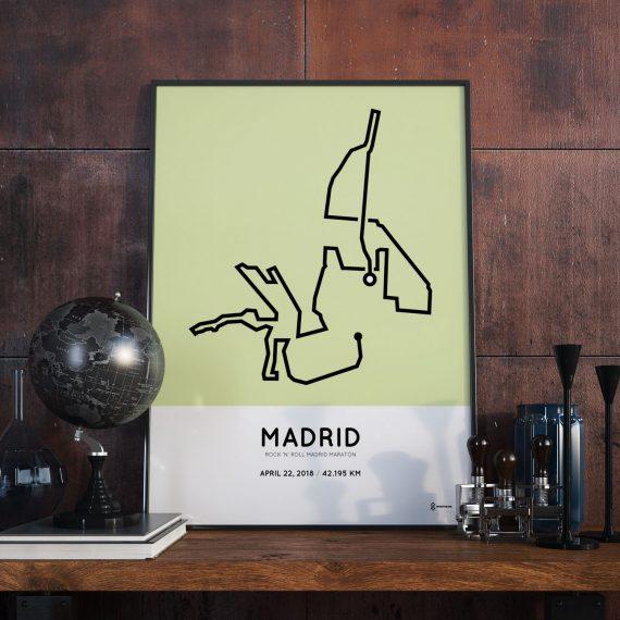 2018 Madrid maratón course print