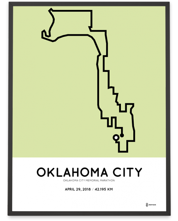 2018 Oklahoma city memorial marathon course poster