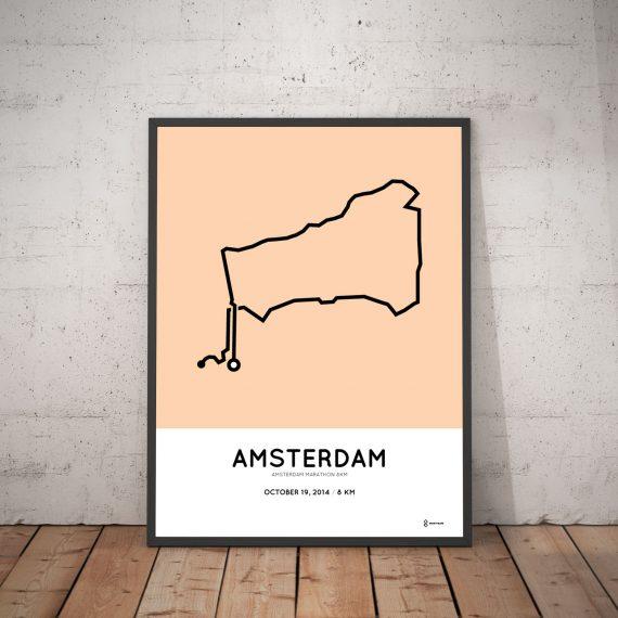 2014 Amsterdam marathon 8km parcours print