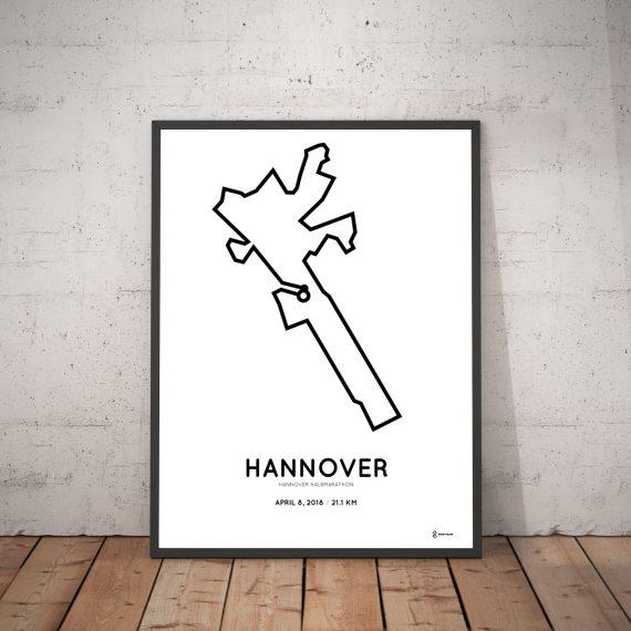 2018 Hannover halbmarathon course map poster