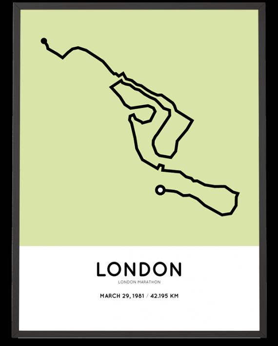 1981 London marathon course poster