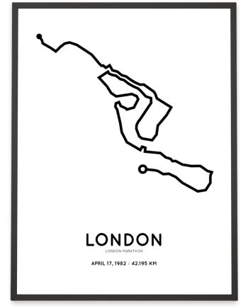 1982 London marathon route map print