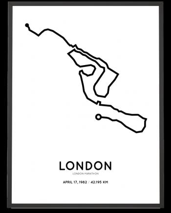 1982 London marathon route map print