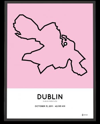 2011 Dublin marathon map course poster