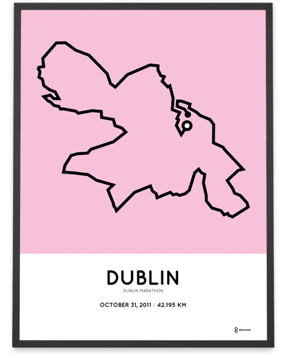 2011 Dublin marathon map course poster