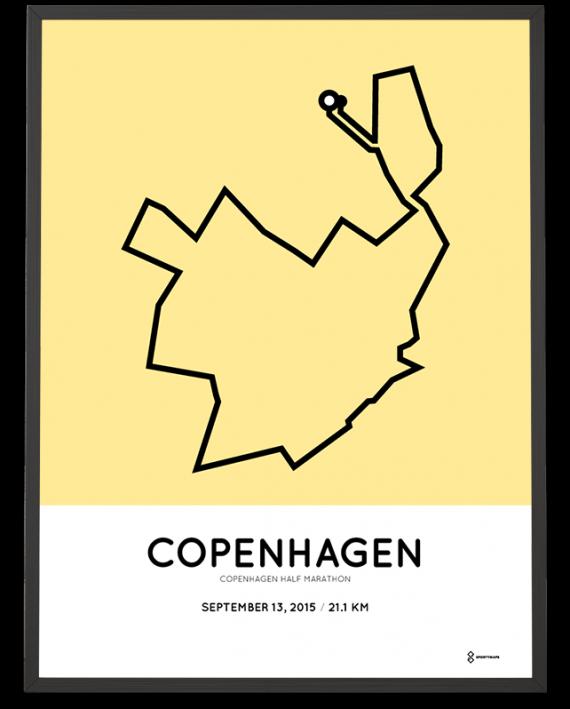 2015 Copenhagen half marathon course print
