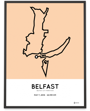 2018 Belfast city marathon course poster