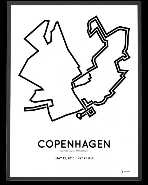 2018 Copenhagen marathon course poster