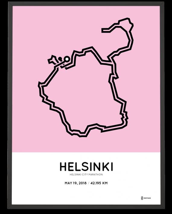 2018 Helsinki marathon course poster