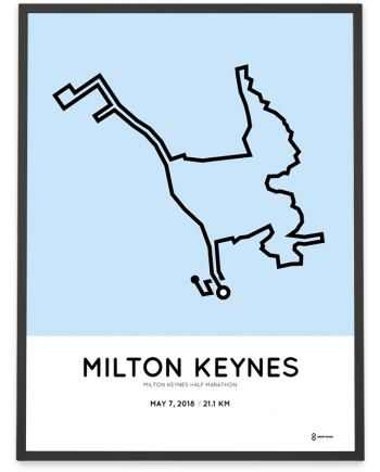 2018 Milton Keynes half marathon route map poster