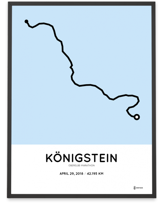 2018 Oberelbe-marathon strecke map poster