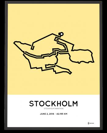 2018 Stockholm marathon course poster
