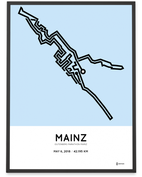 2018 gutenberg mainz marathon course poster