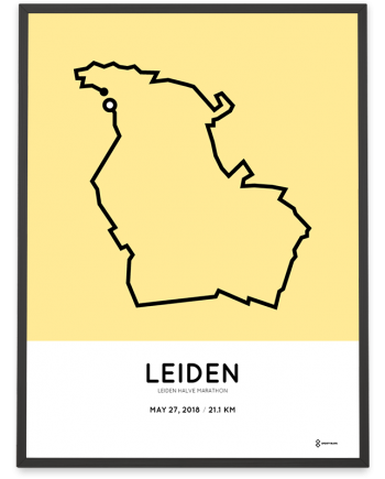 2018 leiden half marathon route poster