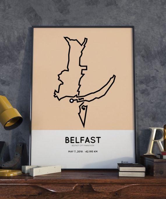 2018 Belfast City Marathon route print
