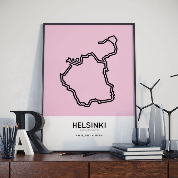 2018 Helsinki marathon course map print