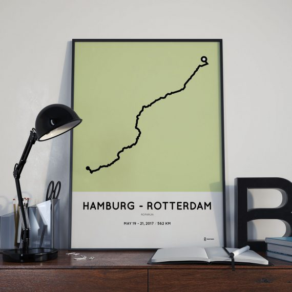 2018 Roparun hamburg to Rotterdam parcours route print