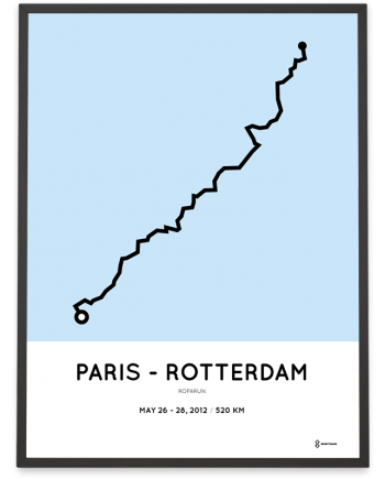 2012 Roparun Paris to Rotterdam route poster
