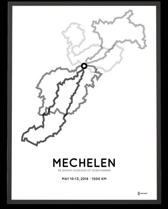 2018 de 1000km voor kom op tegen kanker parcours poster